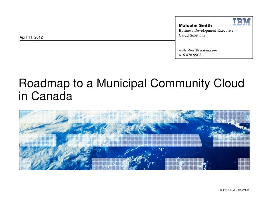 MISA Cloud Workshop_ Roadmap to a municipal community cloud in canada