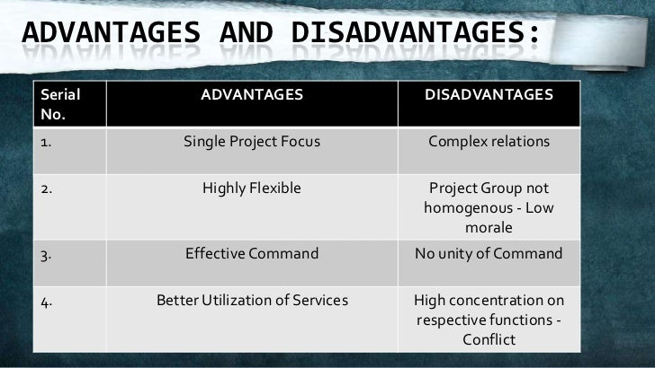 advantages and disadvantages of matrix type What advantages and disadvantages are associated with this type of organization disadvantages of matrix organization this organization increases the workload on employees complex structure unity of command is violated because employees have more than one boss.