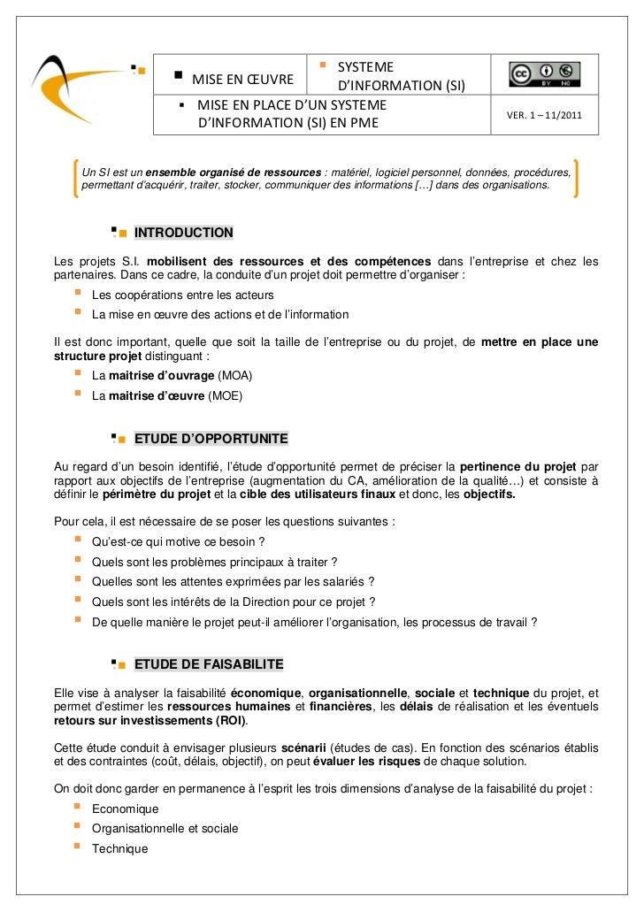 Mise en place d'un Systéme d'Information (SI) en PME