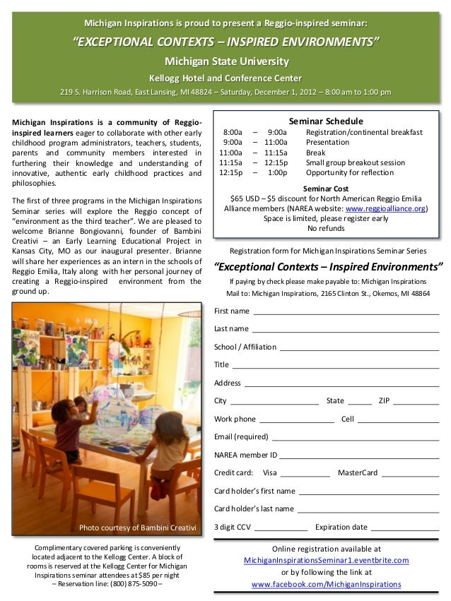 "Michigan Inspirations is proud to present a Reggio-inspired seminar:                  ""EXCEPTIONAL CONTEXTS – INSPIRED ENV..."