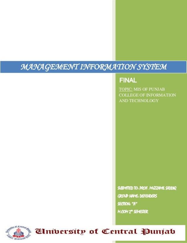 Management Information System of PCIT