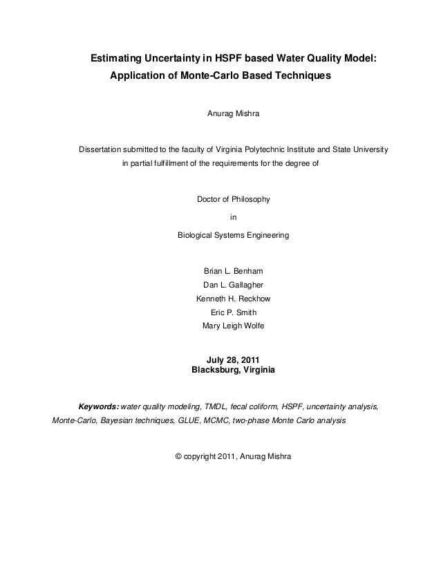 Estimating Uncertainty in HSPF based Water Quality Model: Application of Monte-Carlo Based Techniques  Anurag Mishra  Diss...