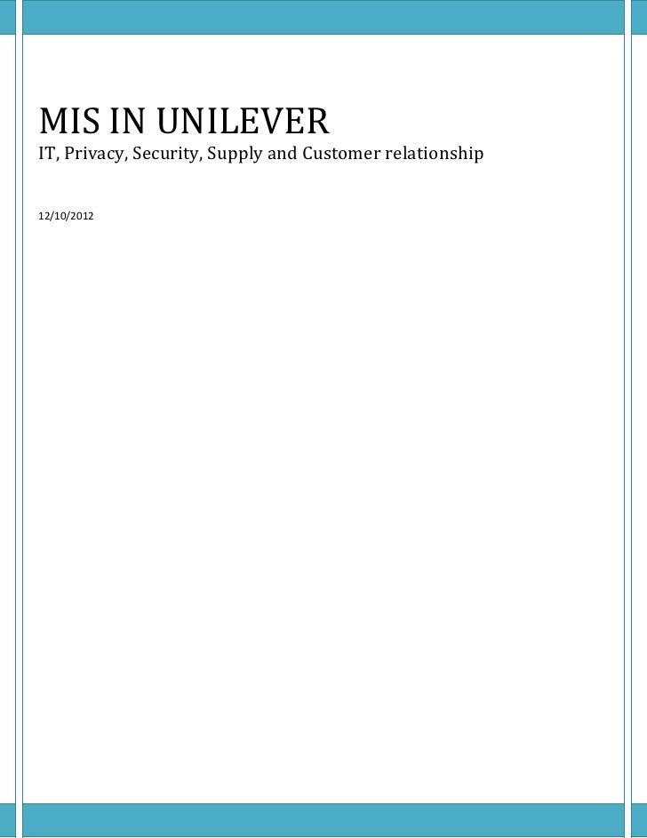 Mis in unilever