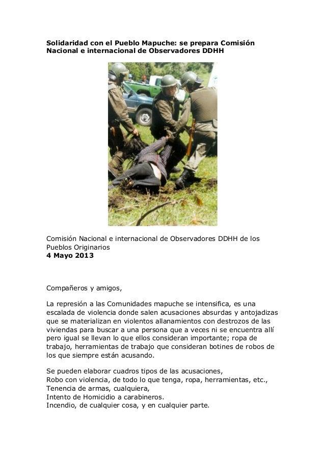 Solidaridad con el Pueblo Mapuche: se prepara ComisiónNacional e internacional de Observadores DDHHComisión Nacional e int...