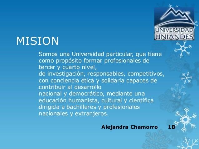 Mision y vision de la universidad