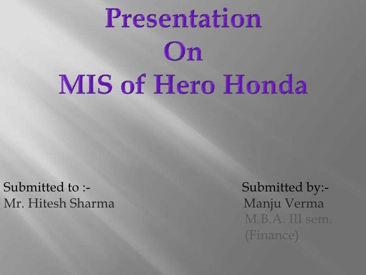 Mis of hero honda