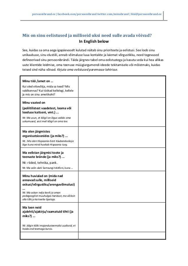 self exploration worksheet