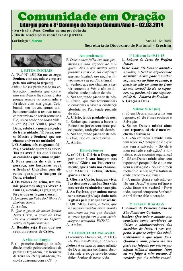 Folheto Litúrgico do Mês de Março 2014