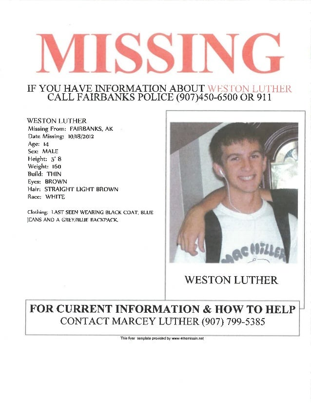 Missing Weston Luther
