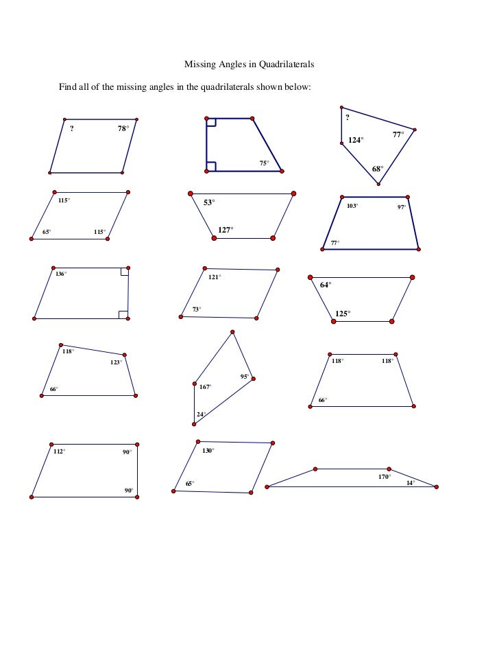 Missing angles in quadrilaterals ws