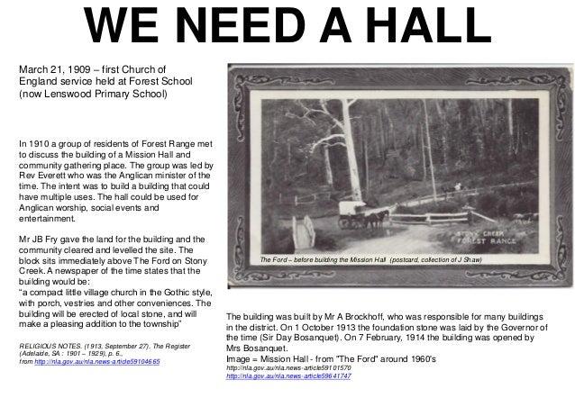 Mission Hall - Lenswood & Forest Range history display