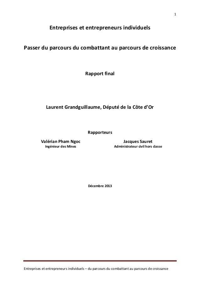 1  Entreprises et entrepreneurs individuels Passer du parcours du combattant au parcours de croissance  Rapport final  Lau...