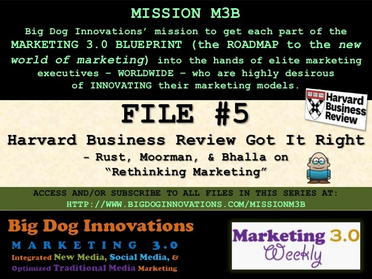 "[MISSION M3B: FILE #5] Harvard Business Review Got It Right – Rust, Moorman, & Bhalla on ""Rethinking Marketing"""