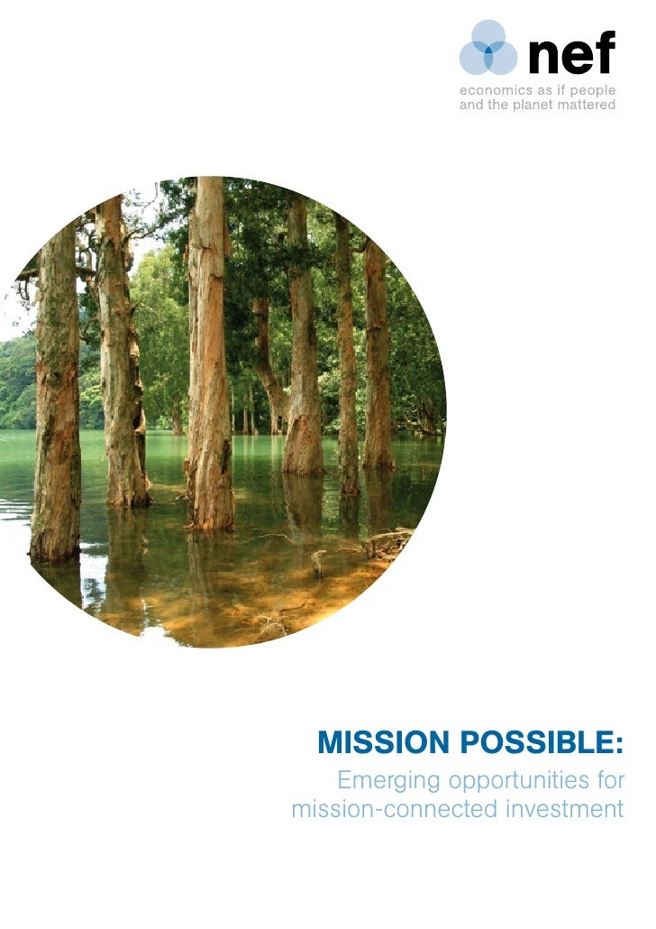 MISSION POSSIBLE:    Emerging opportunities formission-connected investment