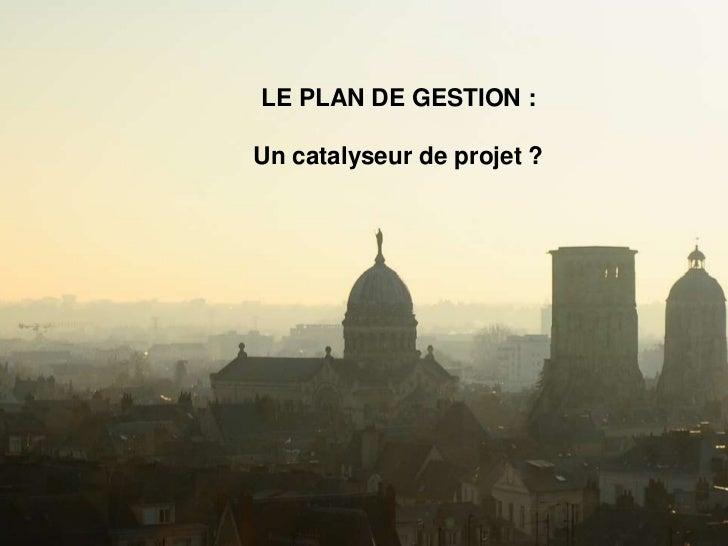 LE PLAN DE GESTION :Un catalyseur de projet ?