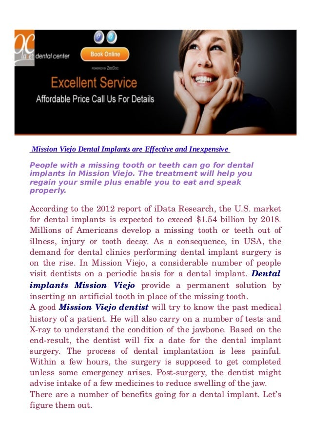 Mission viejo dental implants are effective and inexpensive