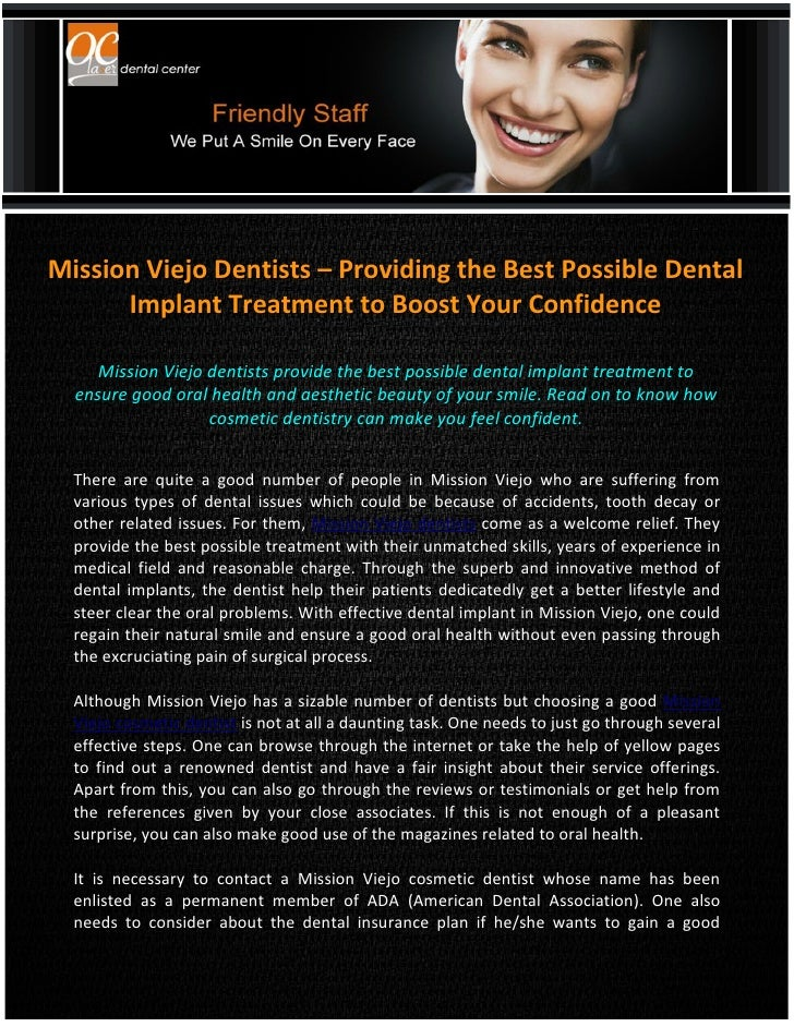 Mission Viejo Dentists – Providing the Best Possible Dental Implant Treatment to Boost Your Confidence