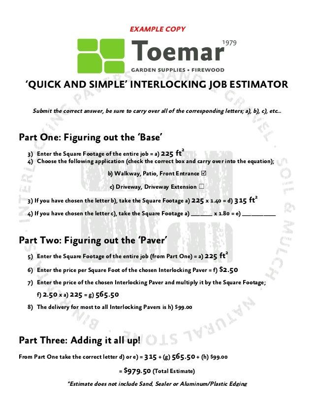 Mississauga interlocking paver estimate worksheet for Front porch cost estimator