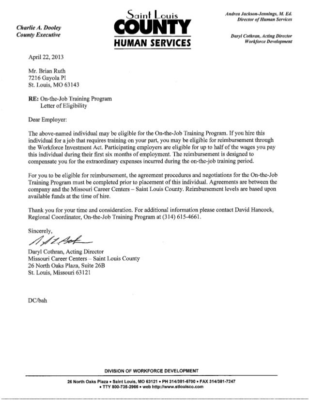 Missouri Ojt Certification Letter May 2013 Updated