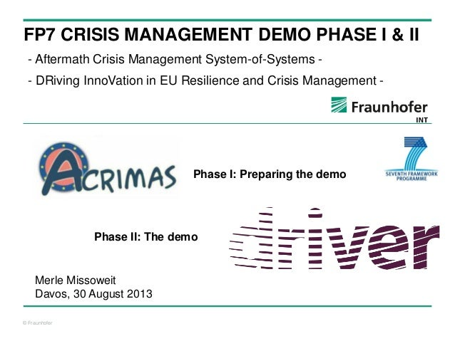 © Fraunhofer FP7 CRISIS MANAGEMENT DEMO PHASE I & II - Aftermath Crisis Management System-of-Systems - - DRiving InnoVatio...