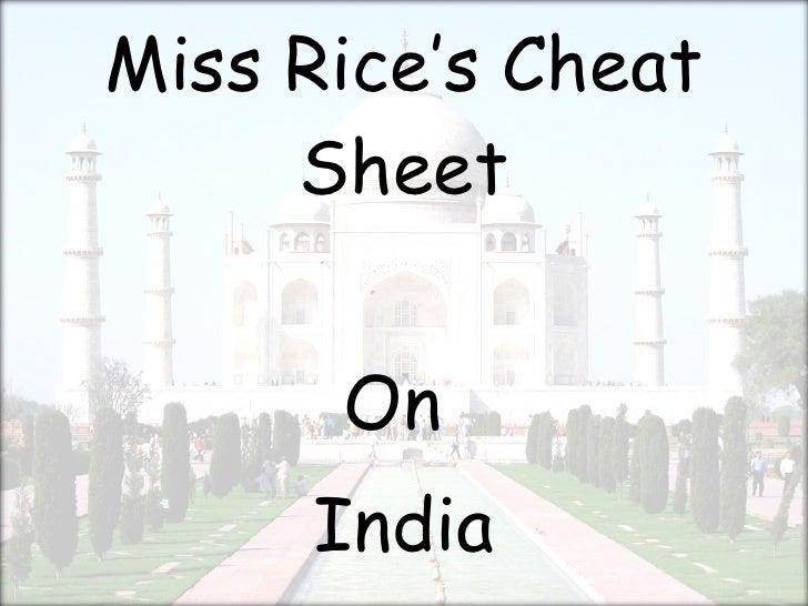 Miss Rice'S Cheat Sheet   Part 1