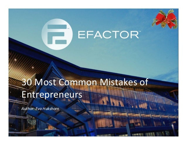 30 Most Common Mistakes of Entrepreneurs