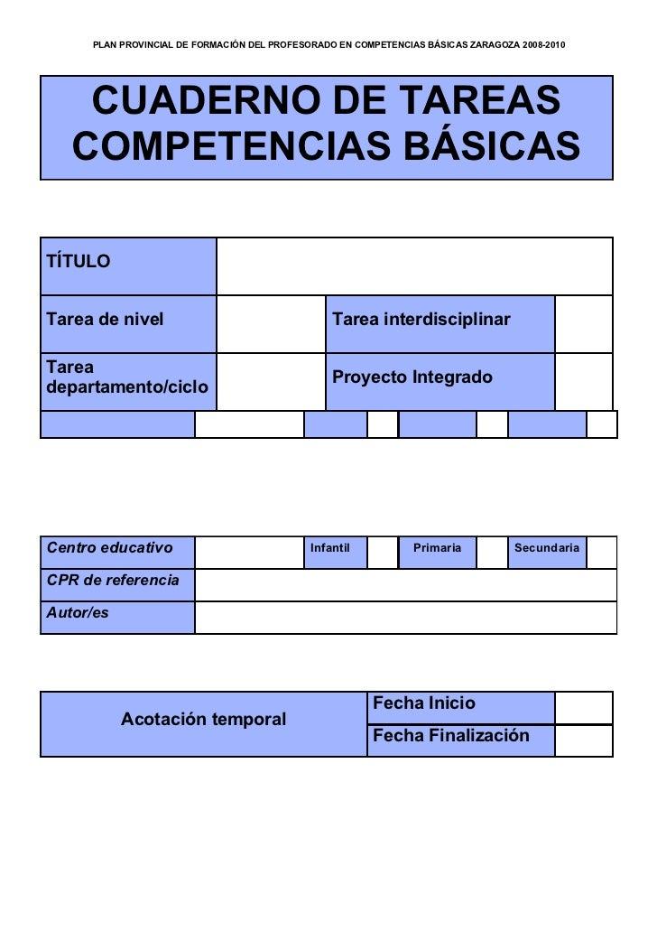 PLAN PROVINCIAL DE FORMACIÓN DEL PROFESORADO EN COMPETENCIAS BÁSICAS ZARAGOZA 2008-2010         CUADERNO DE TAREAS    COMP...