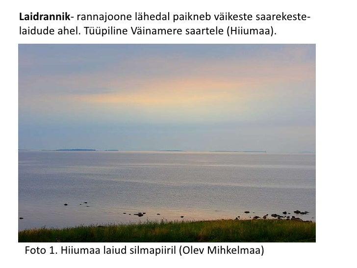 Laidrannik- rannajoone lähedal paikneb väikeste saarekeste- laidude ahel. Tüüpiline Väinamere saartele (Hiiumaa).<br />Fot...