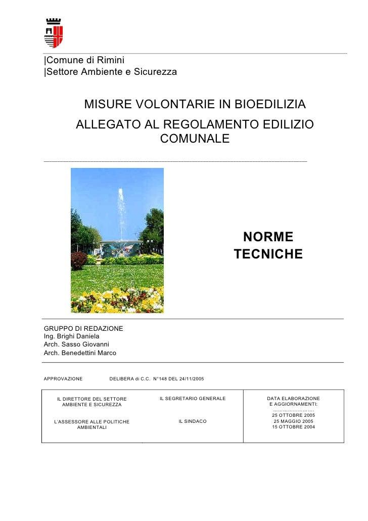 Misure Volontarie In Bioedilizia - Allegato al REgolamento Edilizio del Comune di Rimini