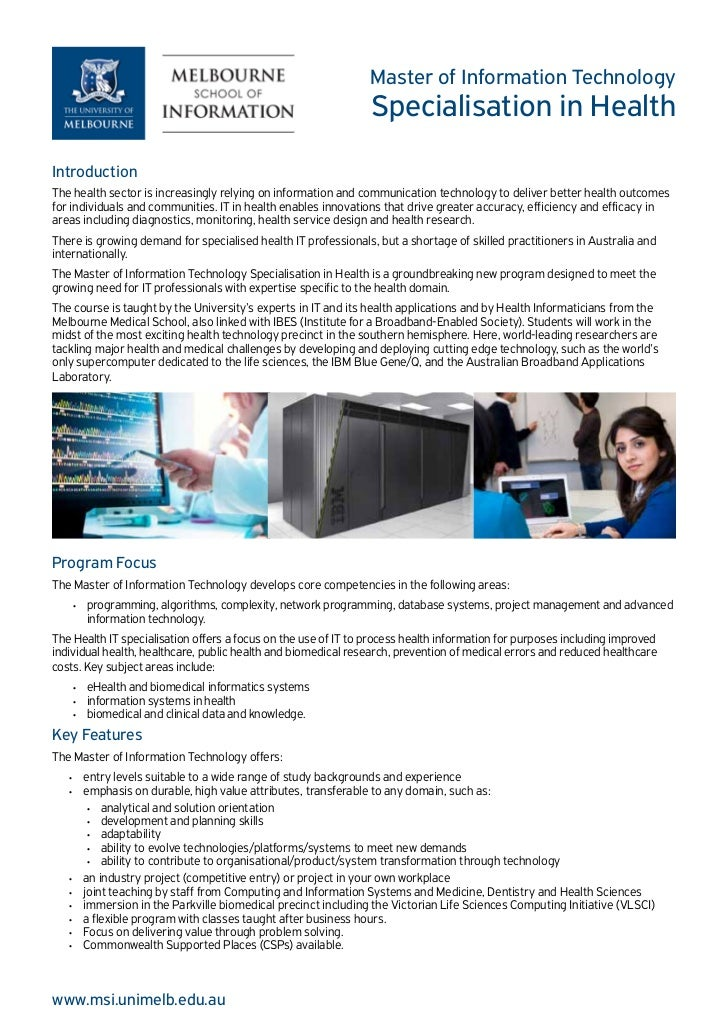 Master of Information Technology                                                                 Specialisation in HealthI...