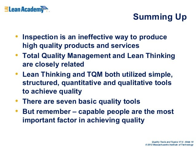 Sample Management Critical Thinking Paper Summary on Total Quality Management