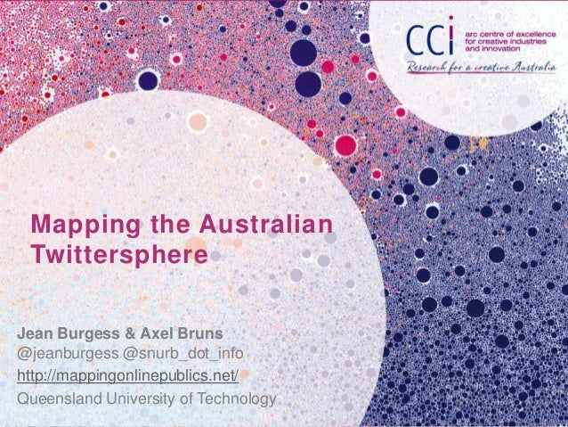 Mapping the AustralianTwittersphereJean Burgess & Axel Bruns@jeanburgess @snurb_dot_infohttp://mappingonlinepublics.net/Qu...