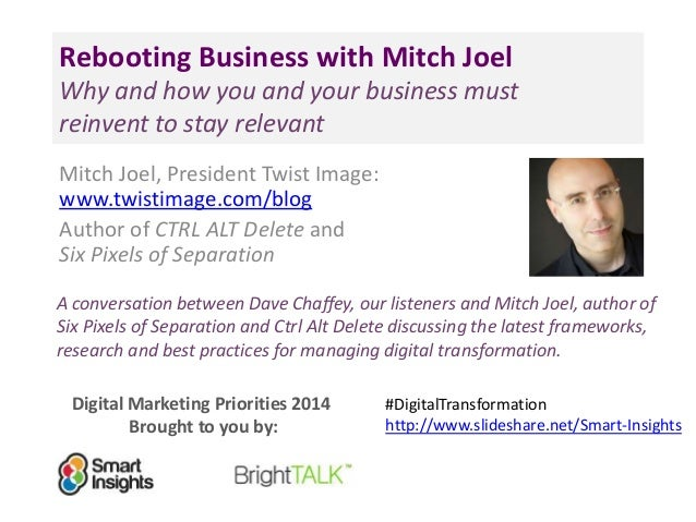 Digital Marketing Priorities 2014 Brought to you by: Rebooting Business with Mitch Joel Why and how you and your business ...