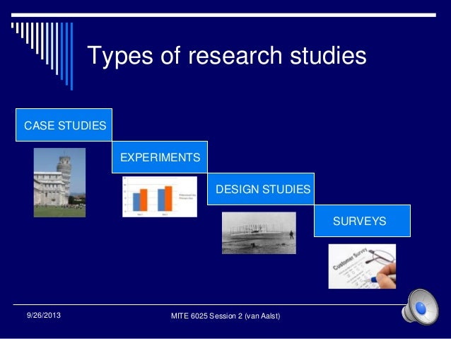 Types of research studies 1 CASE STUDIES EXPERIMENTS DESIGN STUDIES SURVEYS MITE 6025 Session 2 (van Aalst)9/26/2013