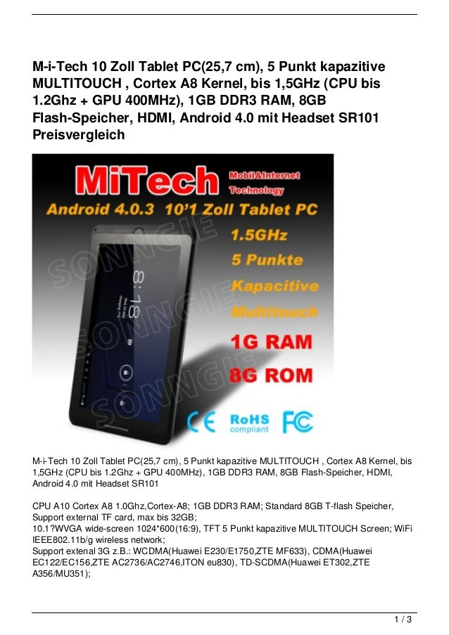 M-i-Tech 10 Zoll Tablet PC(25,7 cm), 5 Punkt kapazitiveMULTITOUCH , Cortex A8 Kernel, bis 1,5GHz (CPU bis1.2Ghz + GPU 400M...