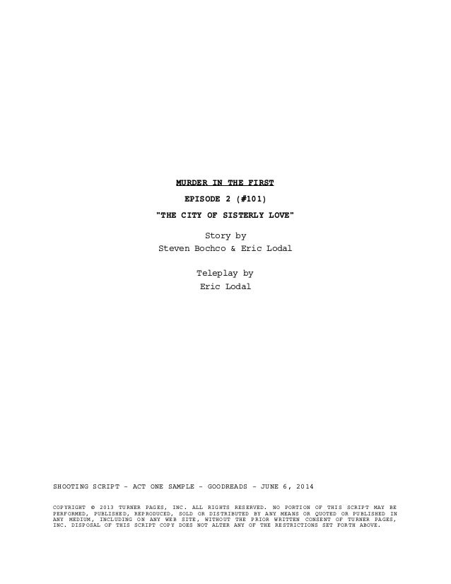 Murder in the First - TNT (Script Preview)
