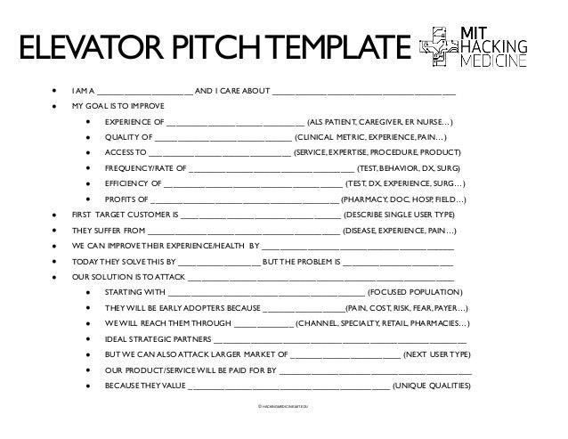 elevator speech template