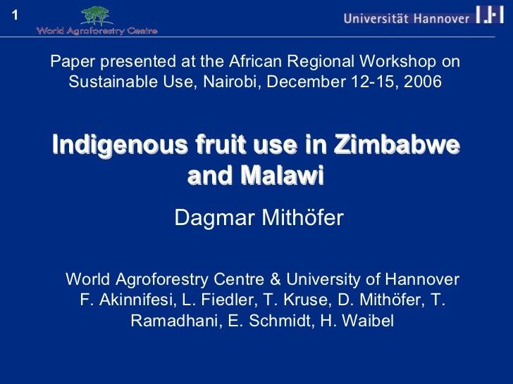 Mithoefer iftpovertyzw regionalsustainableusebiodiversityws2006