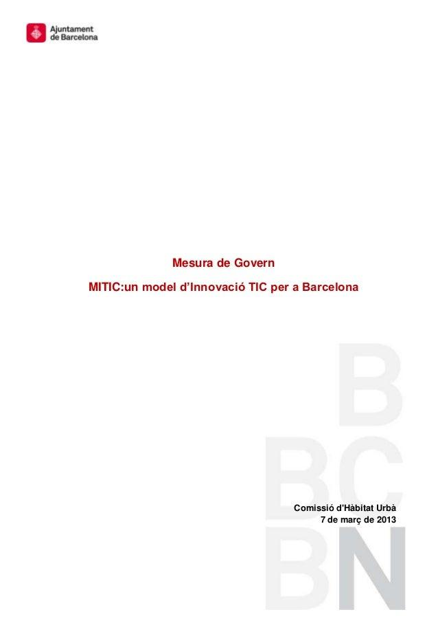 MITIC: Un model d'innovació TIC per a Barcelona