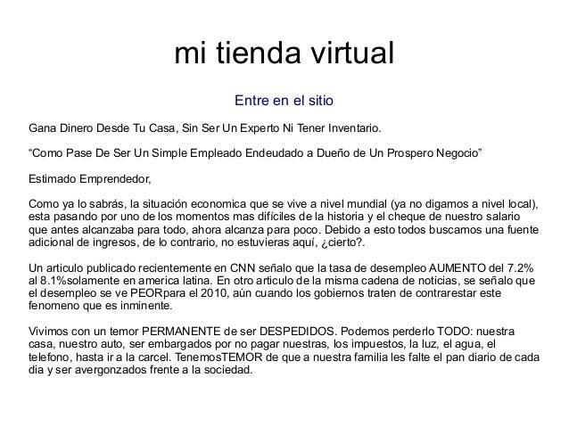 """mi tienda virtualEntre en el sitioGana Dinero Desde Tu Casa, Sin Ser Un Experto Ni Tener Inventario.""""Como Pase De Ser Un S..."""