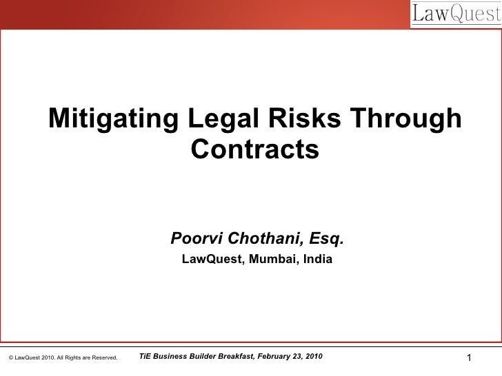 Mitigating Risks Through Contracts - Poorvi Chothani