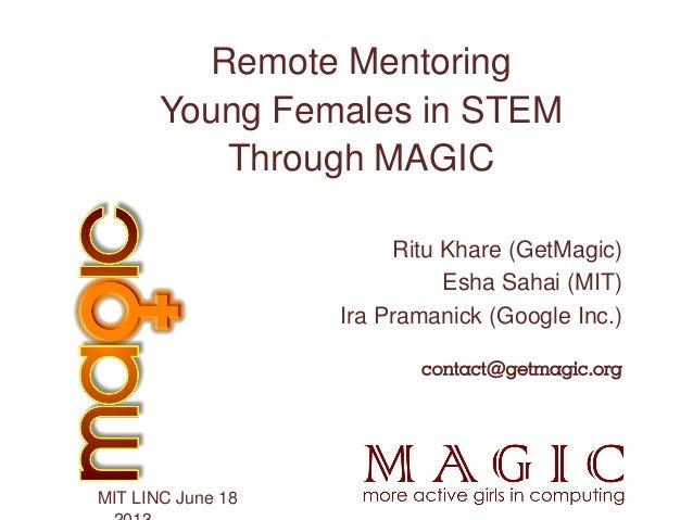 Ritu Khare (GetMagic)Esha Sahai (MIT)Ira Pramanick (Google Inc.)contact@getmagic.orgMIT LINC June 18Remote MentoringYoung ...