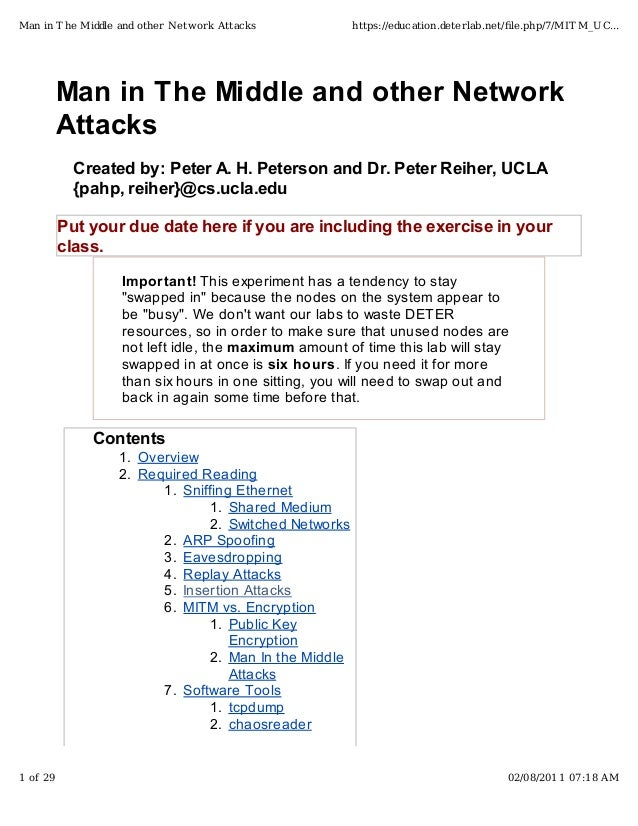 Man in The Middle and other NetworkAttacksCreated by: Peter A. H. Peterson and Dr. Peter Reiher, UCLA{pahp, reiher}@cs.ucl...