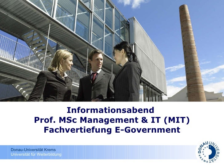 Informationsabend  Prof. MSc Management & IT (MIT) Fachvertiefung E-Government