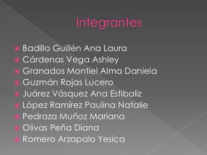  Badillo Guillén Ana Laura Cárdenas Vega Ashley Granados Montiel Alma Daniela Guzmán Rojas Lucero Juárez Vásquez Ana ...
