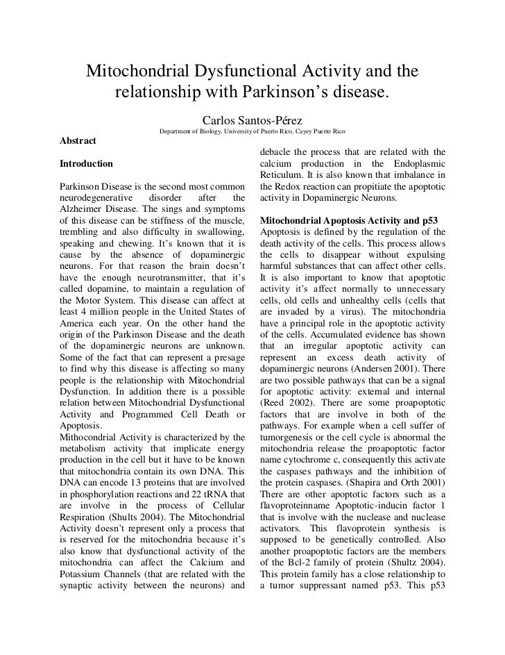 Mitochondrial dysfunctional activity and the relationship with parkinson(2)