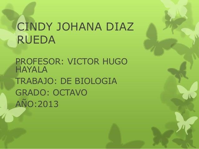 CINDY JOHANA DIAZRUEDAPROFESOR: VICTOR HUGOHAYALATRABAJO: DE BIOLOGIAGRADO: OCTAVOAÑO:2013