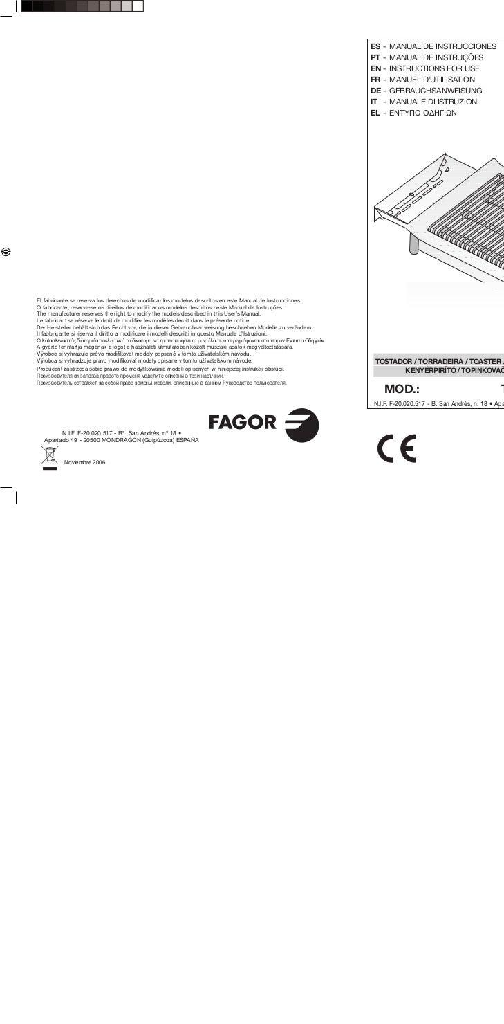 Mi tp 2006 x - Servicio Tecnico Fagor