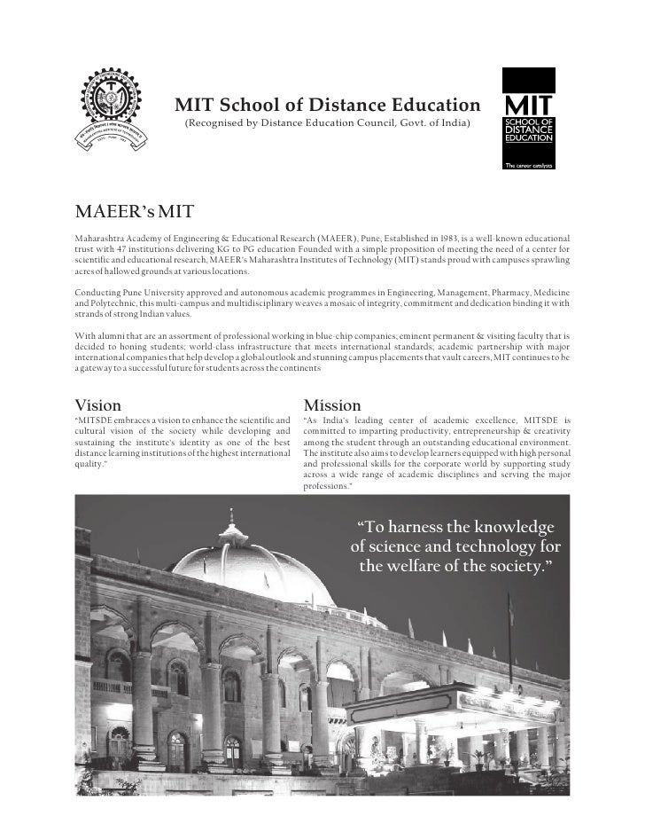 MIT School of Distance Education                               (Recognised by Distance Education Council, Govt. of India) ...