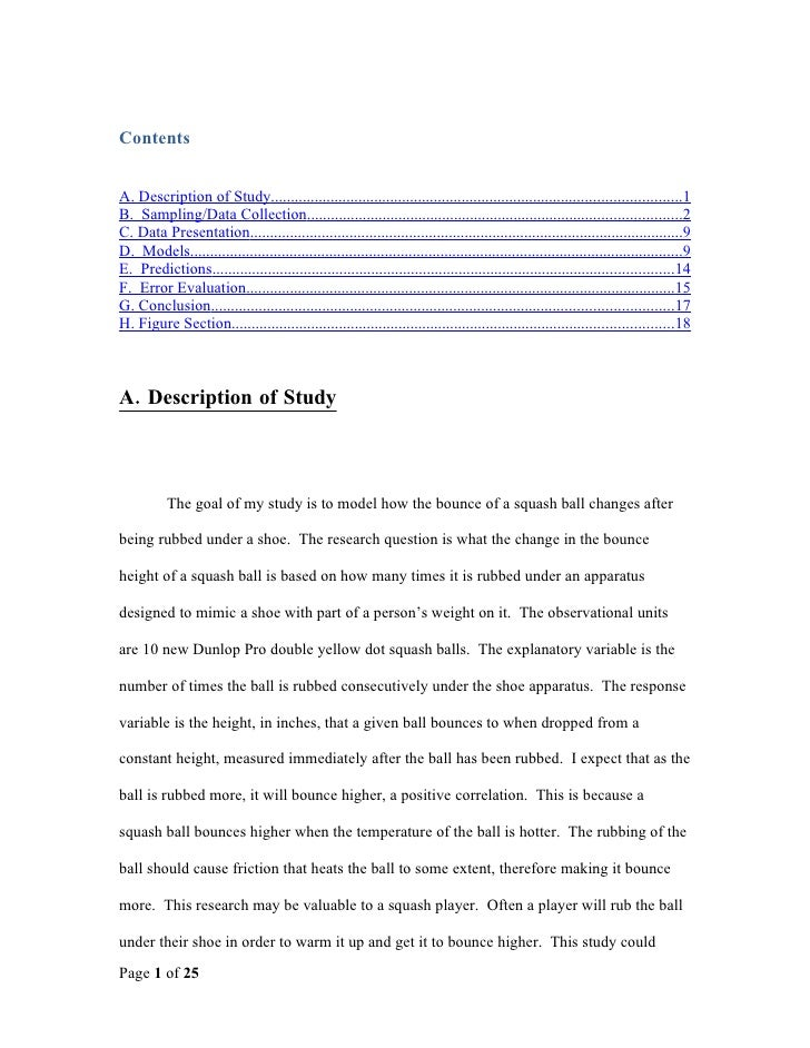 Contents   A. Description of Study...........................................................................................